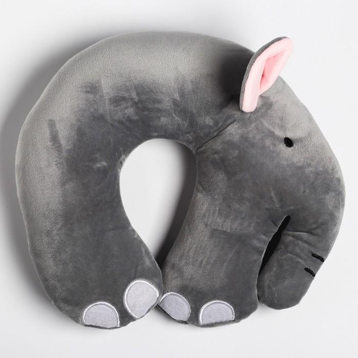 Детская подушка для путешествий «Слон», цвет серый