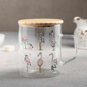 "Кружка с деревянной крышкой ""Фламинго"" 380 мл, 11х8,5х9,5 см"