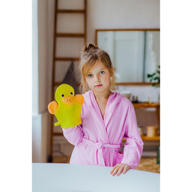 Мочалка-варежка детская с петелькой Доляна «Уточка», 23 см Ош