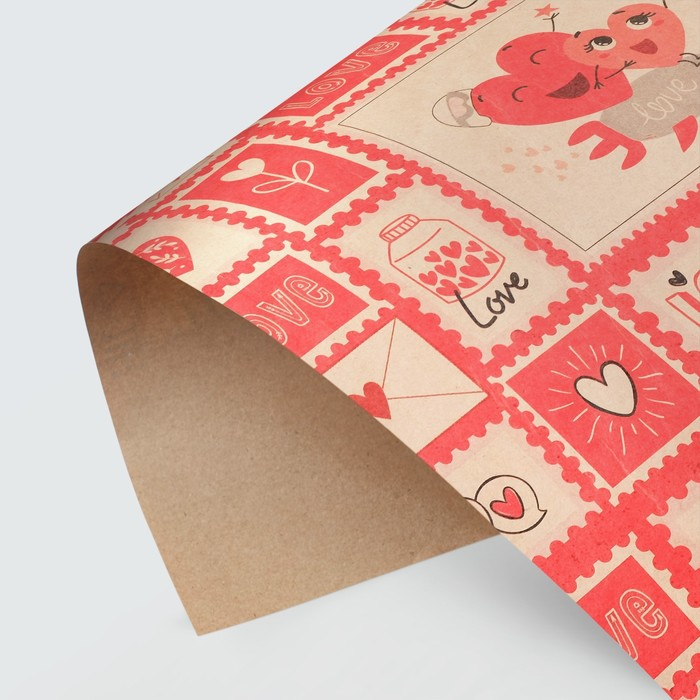 Бумага крафтовая Почтовые марки, 50 70 см