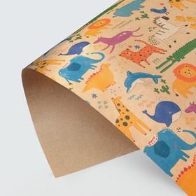 Бумага крафтовая «Звери», 50 × 70 см Ош
