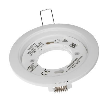 Светильник Ecola 5355, GX53, IP20, 220 В, встраиваемый, круглый, 25x106 мм, белый