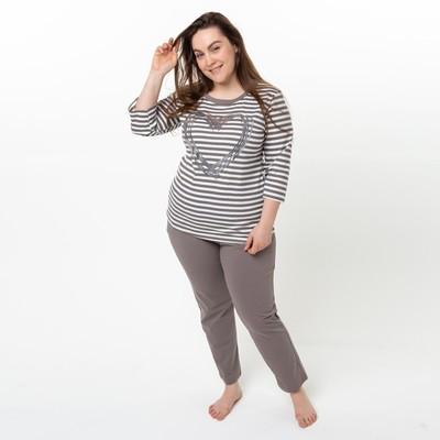 Комплект женский (лонгслив, брюки), цвет коричневый, размер 46 - Фото 1
