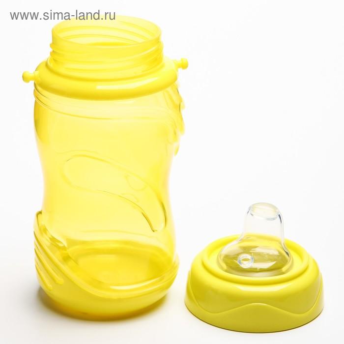Поильник детский с мягким носиком, 300 мл., на ремещке, цвет желтый