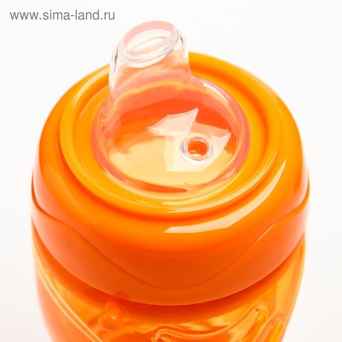 Поильник детский с мягким носиком, 300 мл., на ремещке, цвет оранжевый