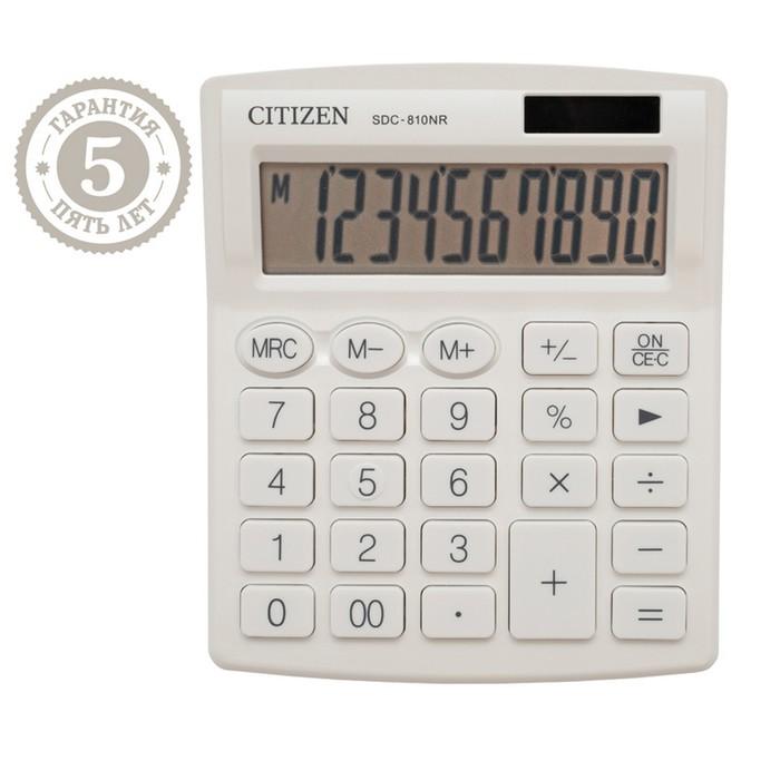 Калькулятор настольный Citizen 10 разр 127*105*21мм, 2-е питание, бел SDC810NRWHE