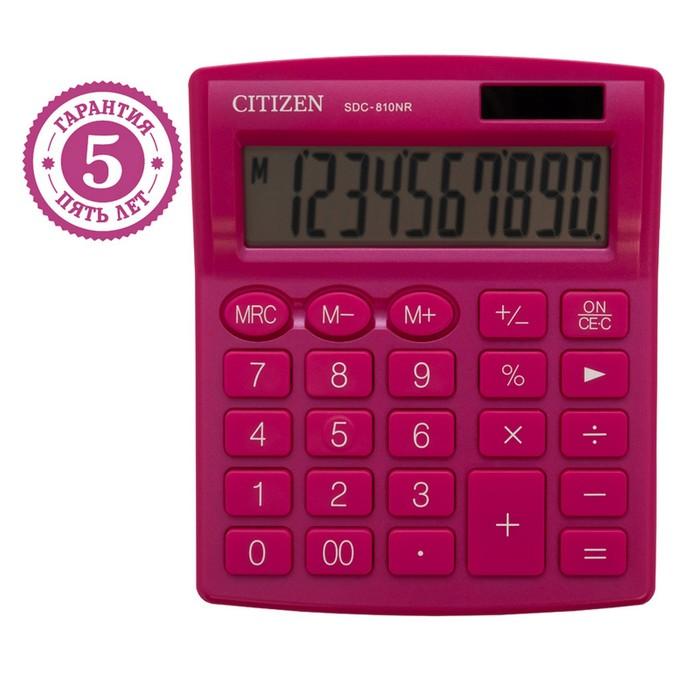 Калькулятор настольный Citizen 10-ти разрядный 102 х 124 х 25 мм, 2-е питание, розовый