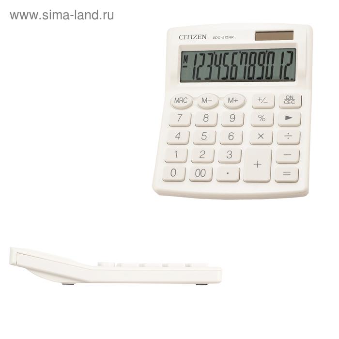 Калькулятор настольный Citizen 12-ти разрядный 102 х 124 х 25 мм, 2-е питание, белый