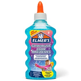 Клей канцелярский 200 г Elmers Glitter Glue, для слаймов, с блёстками, голубой