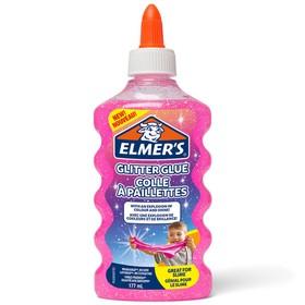 Клей канцелярский Elmers Glitter Glue, 200 г, 177 мл для слаймов, с блёстками, розовый