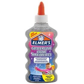 Клей канцелярский 200 г Elmers Glitter Glue, для слаймов, с блёстками, серебряный