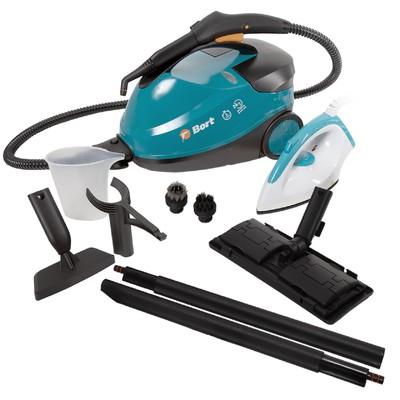 Пароочиститель Bort BDR-2500-RR-Iron, 2300 Вт, 45 г/мин, нагрев 200 с, 1.5 л, + утюг, синий