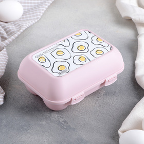 Контейнер для яиц 15,5×11,5×7 см, 6 ячеек, цвет МИКС
