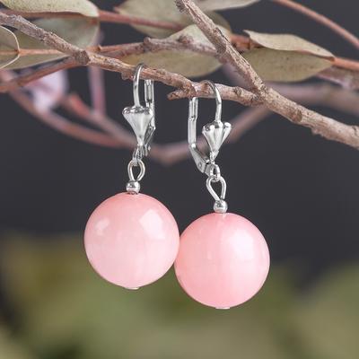 "Серьги шар №16 ""Агат розовый"""