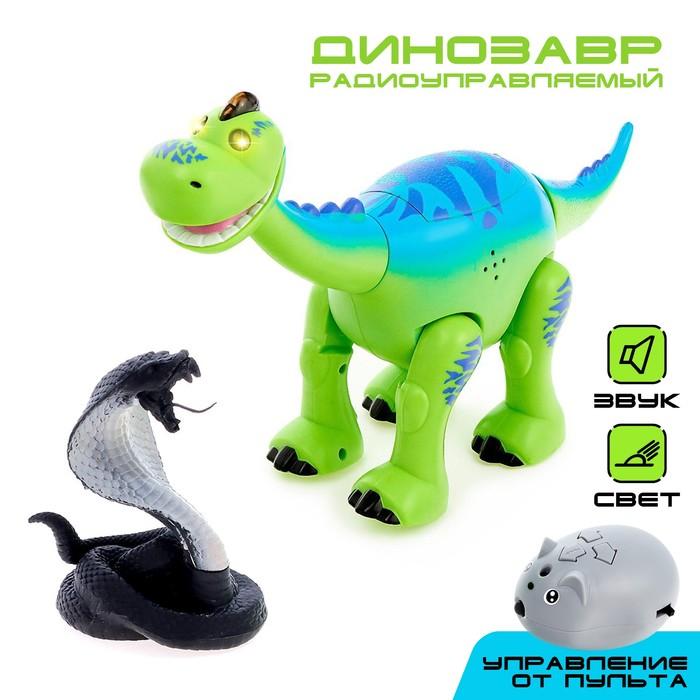 Динозавр радиоуправляемый Майк, световые и звуковые эффекты, работает от батареек