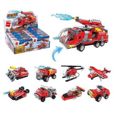 Конструктор Пожарные «Транспорт», 8 видов МИКС - Фото 1