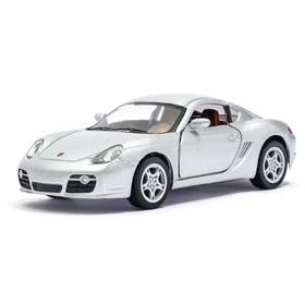 Машина металлическая Porsche Cayman S, масштаб 1:34, открываются двери, инерция, цвет серебристый