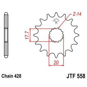 Звезда передняя ведущая JTF558 для мотоцикла, стальная Ош