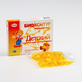 """Детский рыбный жир """"БиоКонтур"""" со вкусом мультифрукт, мягкие жевательные капсулы, 400 мг"""