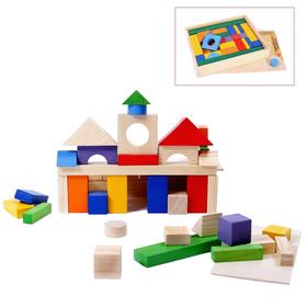 Деревянный конструктор, окрашено 20 деталей, 51 деталь, в деревянном ящике