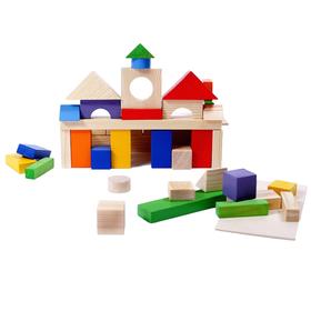 Деревянный конструктор, окрашено 20 деталей, 51 деталь, в пакете
