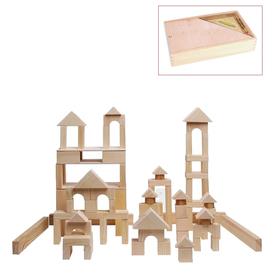 Деревянный конструктор, неокрашенный, 85 деталь, в деревянном ящике