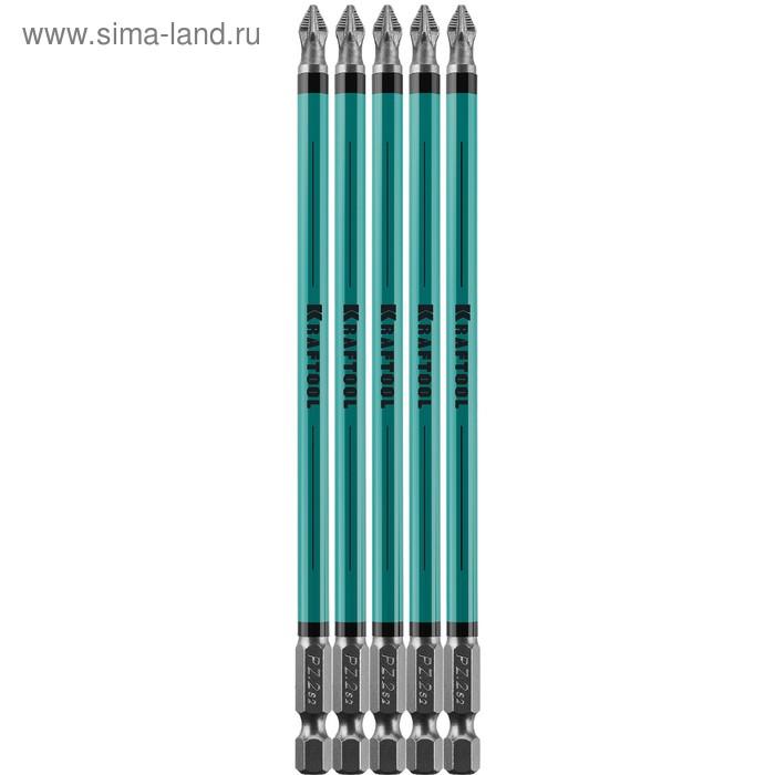 "Биты KRAFTOOL Optimum Line 26124-2-150-5, Е 1/4"", 150 мм, 5 шт., PZ2"