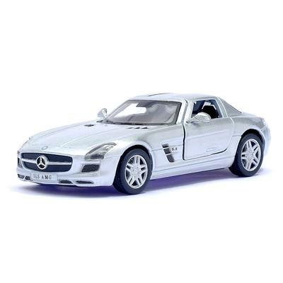 Машина металлическая Mercedes-Benz SLS AMG, масштаб 1:36, открываются двери, инерция, цвет серебристый