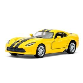 Машина металлическая SRT Viper GTS, масштаб 1:36, открываются двери, инерция, цвет жёлтый