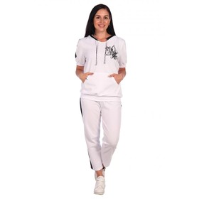 Костюм женский (толстовка, брюки) «Фиеста», цвет белый, размер 58 Ош