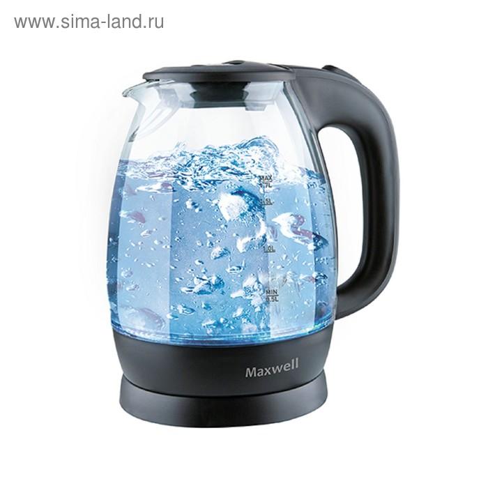 Чайник Maxwell MW-1083 TR, 2200 Вт, 1.7 л, стекло, чёрный