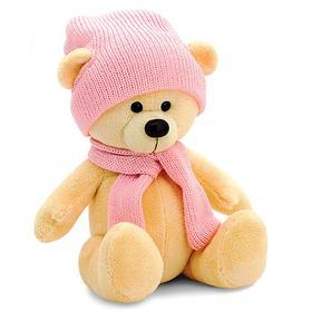 Мягкая игрушка «Медведь Топтыжкин», шапка, шарф, цвет жёлтый, 17 см