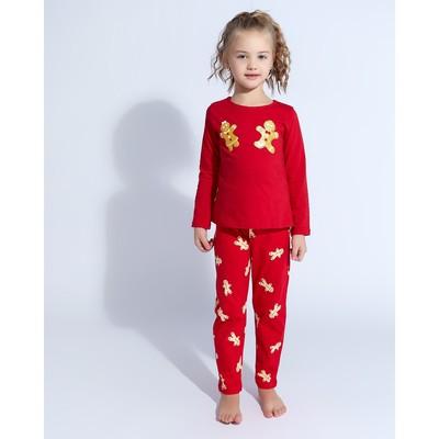 """Пижама (лонгслив, брюки) для девочки MINAKU """"Печеньки"""", рост 116, цвет красный"""
