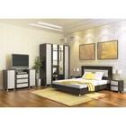 Спальня Камелия 1, набор-Тумба ТВ, шкафы, тумба 2 шт, кровать 1600, Венге/Дуб белфорд
