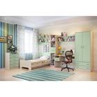 Детская Забава 2, набор-комод, кровать, полка 2 шт, пенал, шкаф, Белфорд/Салатовый