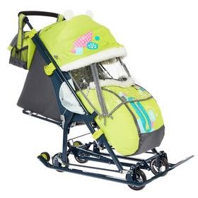 Санки коляска «Ника Детям НД 7-6», рисунок с жирафом, цвет лимонный, механизм качания Ош