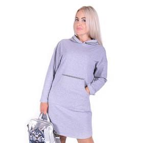 Платье женское, цвет серый, размер 52