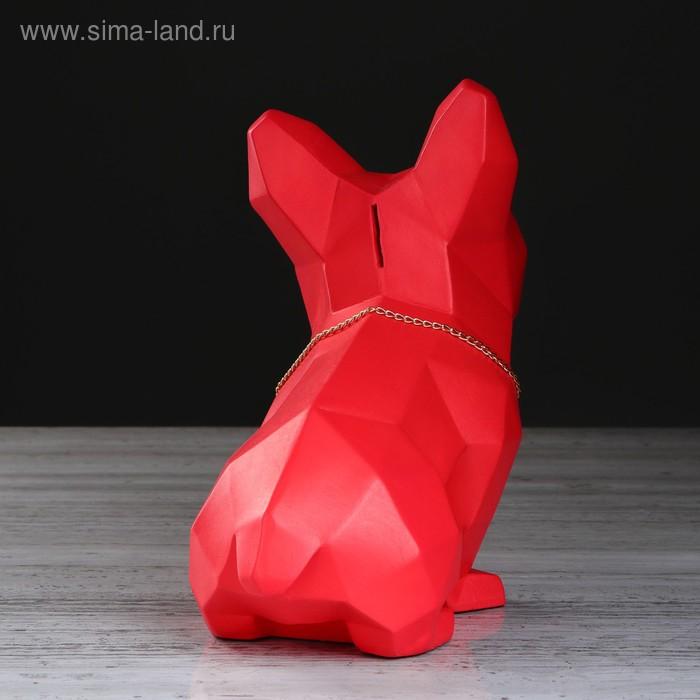 """Копилка """"Собака оригами"""", глазурь, красный цвет, 24 см"""