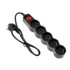 Сетевой фильтр 5bites SP5B-210 5S, 5 розеток, 1 м, 10 А, 3х0.75 мм2, с выкл., черный