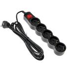 Сетевой фильтр 5bites SP5B-230 5S, 5 розеток, 3 м, 10 А, 3х0.75 мм2, с выкл., черный