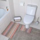 Набор ковриков для ванны и туалета «Полосатик», мелкая полоска, 2 шт: 39×45, 45×75 см
