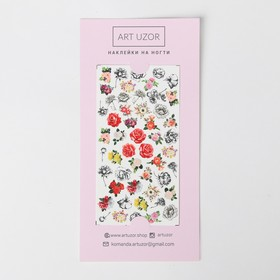 Наклейки для ногтей Flowers, 10 × 16,5 см