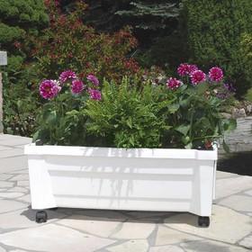 Ящик для растений «Калипсо», 42 л, на колёсах, цвет белый