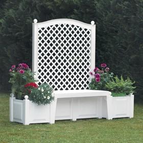Скамейка садовая Копенгаген с шпалерой 139 см, ящики для цветов, 2*44 л