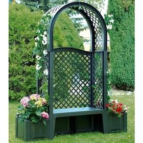 Скамейка садовая Амстердам с аркой 207 см, ящики для цветов 2*44 л
