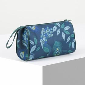 Косметичка-сумочка, отдел на молнии, цвет бирюзовый Ош