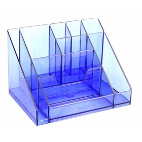"""Настольная подставка-органайзер """"Каскад"""", тонированный, голубой"""