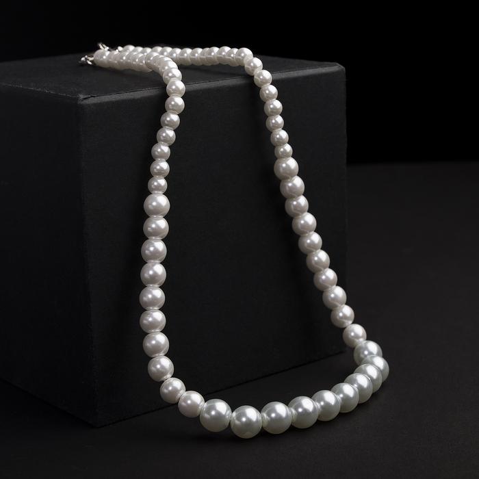 Бусы жемчуг Невеста бусины разного размера d0,5-1, цвет белый, 45 см