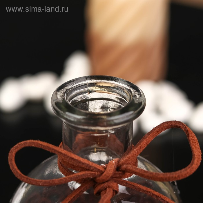 """Бутылка для аромамасел/декора стекло """"Кисточка и кружево"""" прозрачный 200 мл 13,5х6х6 см"""