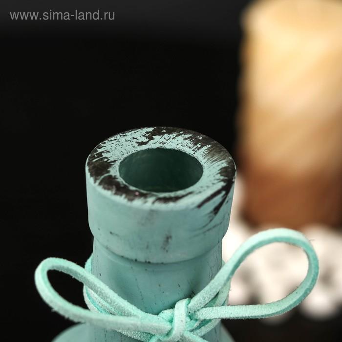 "Бутылка для аромамасел/декора стекло ""Кисточка"" бирюза матовый 250 мл 21,8х7,5х7,5 см"